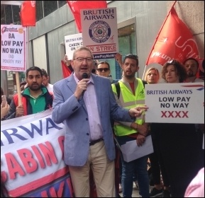 Len McCluskey addressing strikers outide the CAA, 3.8.17, photo by Sarah Wrack