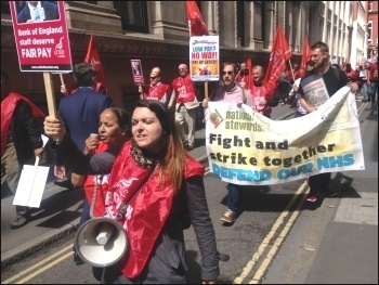 Bank of England strikers marching for a pay rise, 3.8.17, photo Sarah Wrack