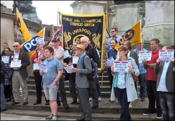 HMRC workers' pay protest in Liverpool, 31.7.17, photo by Roger Bannister