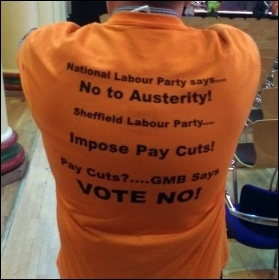 Sheffield council worker says 'no to pay cuts' from Sheffield's Labour council, photo A Tice