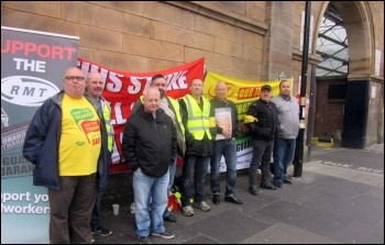 Arriva Rail North strike, Newcastle, 1.9.17, photo by Elaine Brunskill