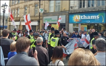 EDL thugs in Keighley, 2.9.17, photo by Bradford Socialist Party