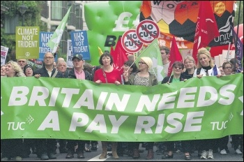 Trade union leaders marching on the TUC's 'Britain needs a pay rise' demo in 2014, photo Paul Mattsson