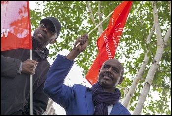 London bus workers demonstration outside City Hall 14 September 2017, photo Paul Mattsson, photo Paul Mattsson
