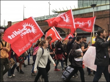 Young Socialists contingent, 1st October 2017, Manchester, photo by Sarah Wrack