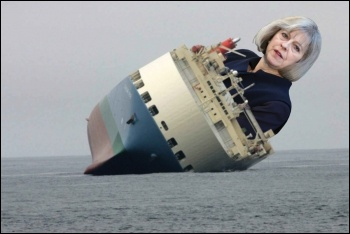 Theresa May's Tories are holed below the waterline - let's scupper them, photo FCO/CC (Theresa May), public domain (ship), James Ivens (composite)