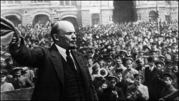 Vladimir Lenin addressing crowds of revolutionary workers and soldiers