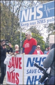 Socialist Party mayoral candudare Steve Score speaking at the demo to save Grantham A&E, photo East Midlands Socialist Party