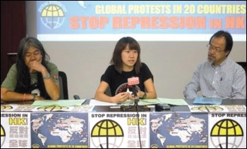 Hong Kong press conference, 13.10.17 - from left 'Long Hair' Leung Kwok-hung, Socialist Action's Sally Tang Mei-ching, Dr Fernando Cheung, photo by Socialist Action (CWI Hong Kong)
