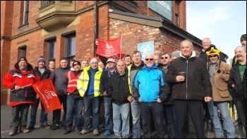 Arriva drivers' picket, 30.10.17, photo Hugh Caffrey