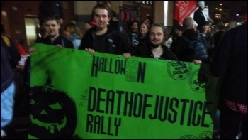 'Death of Justice' march by Orgreave campaigners 31 October in Sheffield, photo Alistair Tice