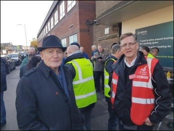 Socialist Party member Tony Mulhearn (left) with the Unite branch secretary at the Liverpool Green Lane bus drivers' picket, photo Hugh Caffrey