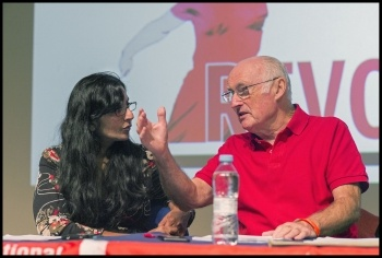Peter Taaffe and Kshama Sawant, Socialism 2017, photo Paul Mattsson