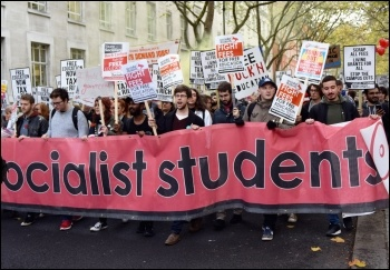 Socialist Students contingent on 15 November free education demo in London, photo Mary Finch, photo Mary Finch