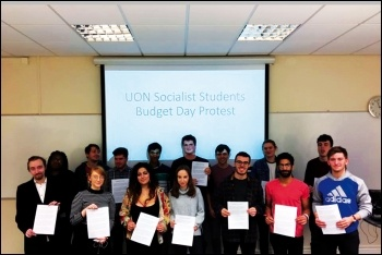 Nottingham: Socialist Students Budget Day protest, 22.11.17