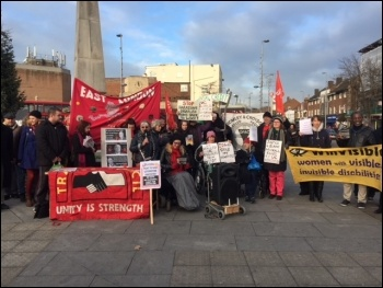 Chingford Universal Credit protest, photo Theo Sharieff