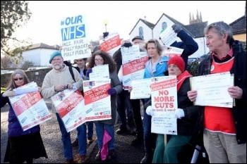 Totnes NHS demo, photo South Devon SOHS, photo South Devon SOHS