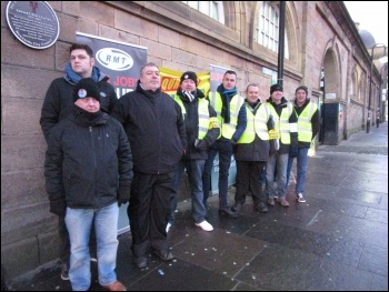 RMT picket line, Newcastle, 8th Jan 2018, photo E Brunskill