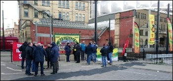 RMT picket at Manchester Victoria station, 8.1.18, photo by B Heagney