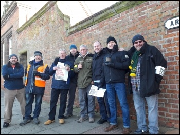 Picket at Merseyrail in Birkenhead, 8.1.18, photo by Hugh Caffrey
