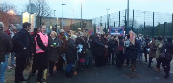 Teachers striking against academisation at Cumberland School, Newham, 9.1.17, photo by James Ivens