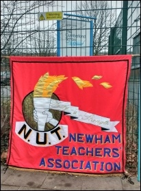 Newham NUT branch banner at the Cumberland School strike, 9.1.17, photo by James Ivens