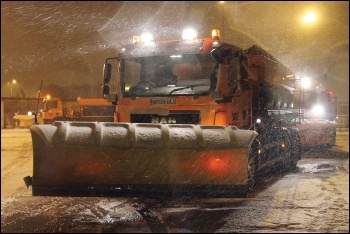 Businesses get their roads gritted while working class homes are left isolated, photo by Highways England (CC)