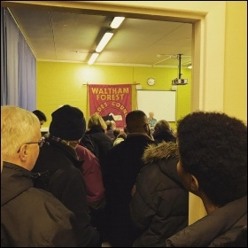 Residents queue out the door at Waltham Forest monster block meeting, photo Ben Robinson