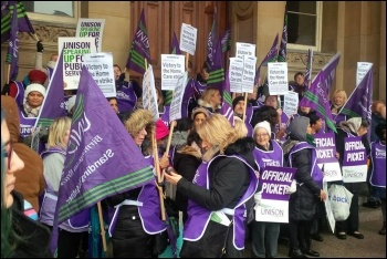 Birmingham care workers protesting outside council offices, 20.1.18, photo Birmingham Socialist Party