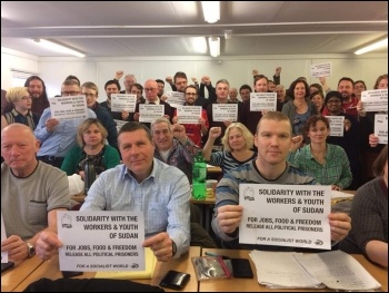 Solidarity from England and Wales Socialist Party, photo Nick Chaffey