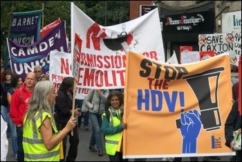 Protesters in Haringey marching against the 'HDV' gentrification scheme, photo North London SP
