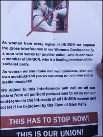 The leaflet circulated at Unison women's conference