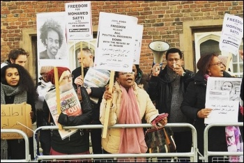 Protesting outside Sudan's embassy in London, photo by Socialist Party