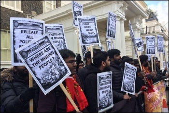 Protesting outside the Sri Lankan high commission, 4.2.18, photo Isai Priya