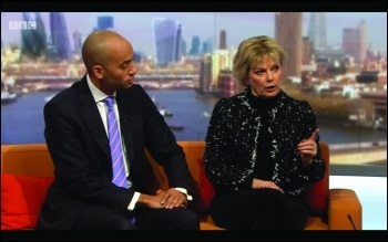Chuka Umunna and Anna Soubry share a sofa on the Andrew Marr show 11 February