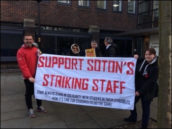 Supporting the UCU lecturers' strike in Southampton 22 February 2018