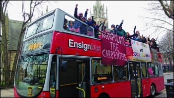 The single mums Wales evicted from the Carpenters Estate in E15 celebrated his deselection by chartering an open-top bus around Newham, photo James Ivens