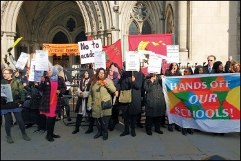 Newham school teachers and parents protesting outside the High Court, photo by Scott Jones