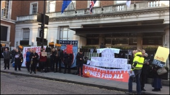 London tenants and workers protest against a social housing auction, photo Helen Pattison