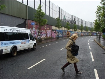 One of the Belfast 'peace walls' dividing Protestant from Catholic areas, photo Nick/CC