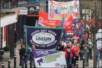 Trade unionists and campaigners rallying for pay at Runnymede in Surrey, photo by Surrey Unison