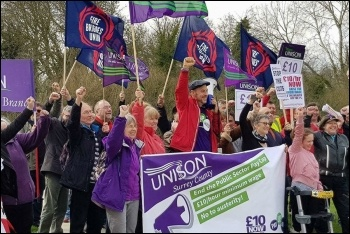 Trade unionists and campaigners rallying for pay at Runnymede in Surrey, photo Surrey Unison