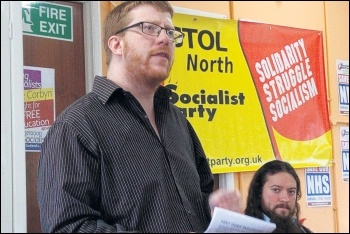 Tom Baldwin speaking at Socialist Party South West regional conference, 7.4.18, photo by South West Socialist Party