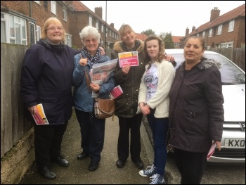 Butterfields tenants campaigning with TUSC candidate Linda Taaffe (second from left), photo Paula Mitchell
