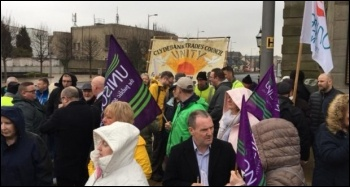 Trade union protest at West Dunbartonshire council meeting