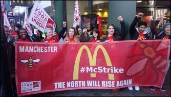 Manchester Oxford St McDonald's workers on strike, 1.5.18, photo Becci Heagney