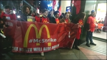 McDonald's strike, 1.5.18, Manchester, photo by B Heagney