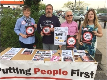 TUSC May 2018 campaigning, Keith Morrell second-right