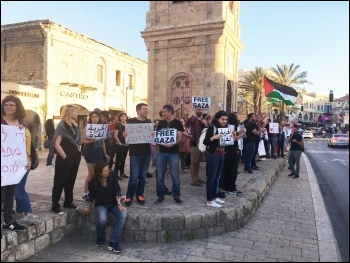 Protesting in Jaffa, Israel, in solidarity with the Gaza protesters, 14.5.18, photo by Naor