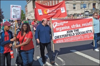 Socialist Party members on the Chesterfield May Day march, 7.5.18, photo by Tessa Warrington